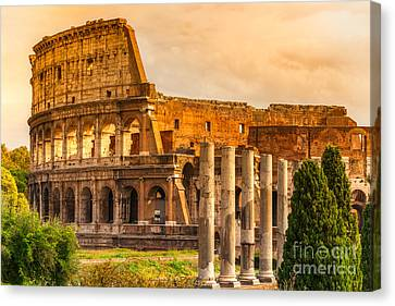 Big Blue Marble Canvas Print - The Majestic Coliseum - Rome by Luciano Mortula