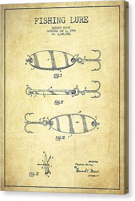 Catch Canvas Print - Vintage Fishing Lure Patent Drawing From 1964 by Aged Pixel