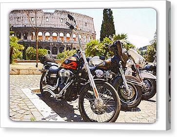 110th Anniversary Harley Davidson Under Colosseum Canvas Print by Stefano Senise