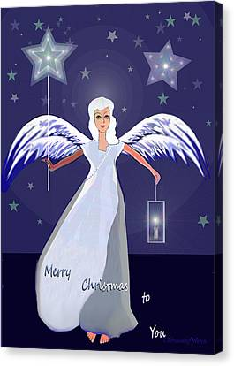 1147 - Merry Christmas Card Canvas Print by Irmgard Schoendorf Welch