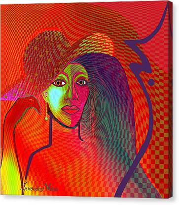 Redlight Canvas Print - 1197 - Lady With Hat And Golden Earring by Irmgard Schoendorf Welch