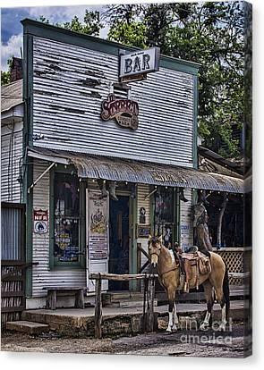 11th Street Cowboy Bar In Bandera Texas Canvas Print by Priscilla Burgers