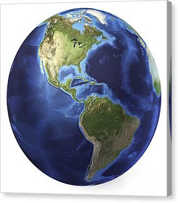 3d Rendering Of Planet Earth, Centered Canvas Print by Leonello Calvetti