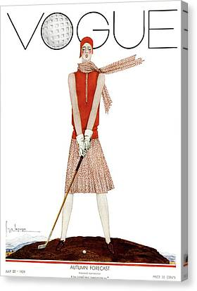 Recreation Canvas Print - A Vintage Vogue Magazine Cover Of A Woman by Georges Lepape