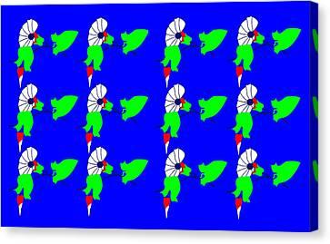 12 Bindweed Flowers On Blue Canvas Print by Asbjorn Lonvig