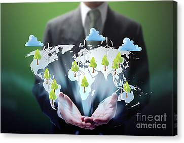 Business Abstract Canvas Print by Atiketta Sangasaeng