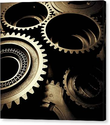 Brown Tones Canvas Print - Cogs by Les Cunliffe