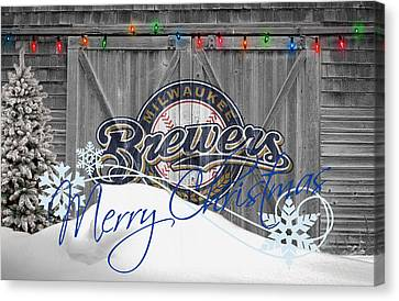 Mlb Canvas Print - Milwaukee Brewers by Joe Hamilton