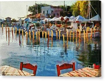 Molyvos Port In Lesvos Island Canvas Print