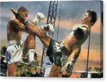 Muay Thai Arts Of Fighting Canvas Print by Rames Ratyantarakor