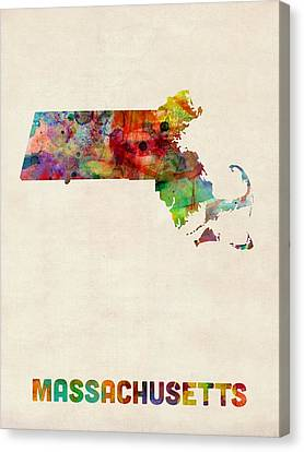 Massachusetts Watercolor Map Canvas Print