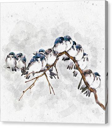 Tree Creature Canvas Print - 12 On A Twig by Marian Voicu