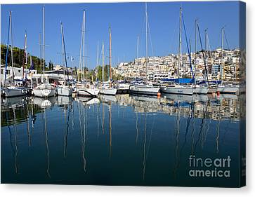 Houses Canvas Print - Reflections In Mikrolimano Port by George Atsametakis