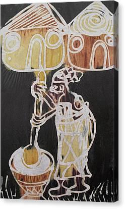 Village Scene.woman Pound The Yam Tuber  Canvas Print