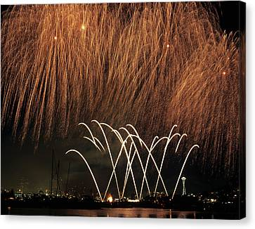 Wa, Seattle, Fireworks On July 4th Canvas Print by Jamie and Judy Wild