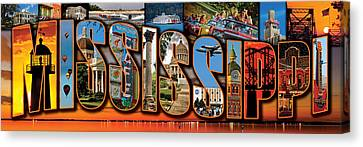 12 X 36 Horizontal Mississippi Postcard Version 1 Canvas Print by Jim Albritton