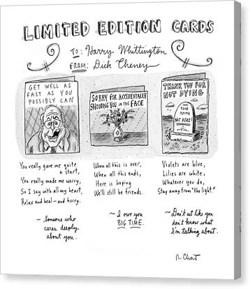Limited Edition Cards Canvas Print by Roz Chast
