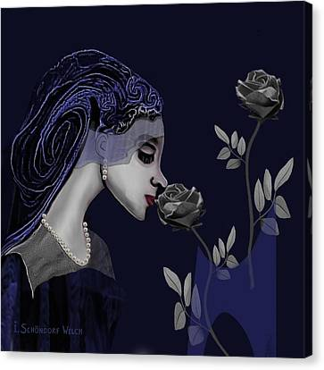 126 - A Young Woman With Roses ... Canvas Print by Irmgard Schoendorf Welch