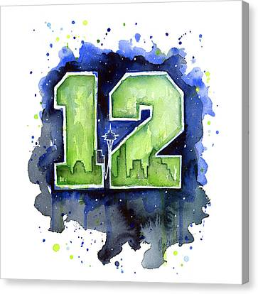 12th Man Seahawks Art Seattle Go Hawks Canvas Print by Olga Shvartsur