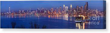12th Man Seattle Skyline Reflection Canvas Print by Mike Reid