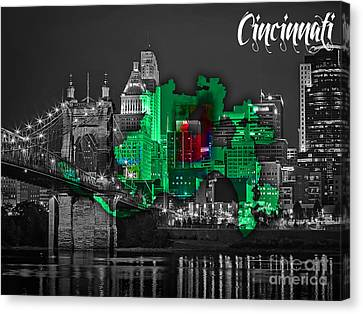 Cities Canvas Print - Cincinnati Map And Skyline Watercolor by Marvin Blaine