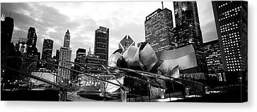 Low Angle View Of Buildings Lit Canvas Print