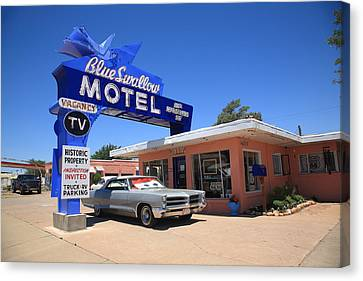 Route 66 - Blue Swallow Motel Canvas Print by Frank Romeo