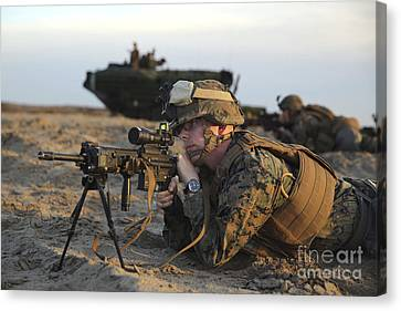 U.s. Marine Provides Security Canvas Print by Stocktrek Images