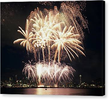 Wa Canvas Print - Wa, Seattle, Fireworks On July 4th by Jamie and Judy Wild