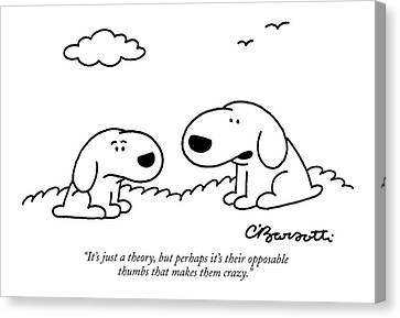 It's Just A Theory Canvas Print by Charles Barsotti