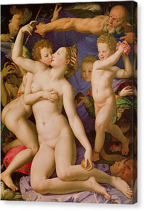 An Allegory Of Venus And Cupid Canvas Print by Agnolo Bronzino