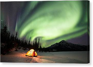 Aurora Borealis In Alaska Canvas Print by Chris Madeley