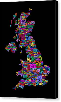Great Britain Uk City Text Map Canvas Print by Michael Tompsett