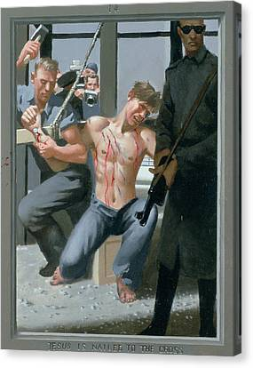 14. Jesus Is Nailed To The Cross / From The Passion Of Christ - A Gay Vision Canvas Print by Douglas Blanchard