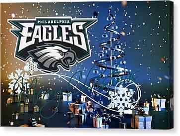 Christmas Greeting Canvas Print - Philadelphia Eagles by Joe Hamilton