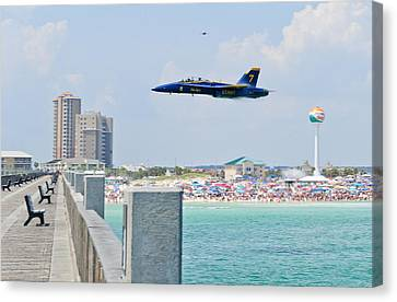 Blue Angels On Pensacola Beach Canvas Print by Specialist 2nd Class Andrea Perez