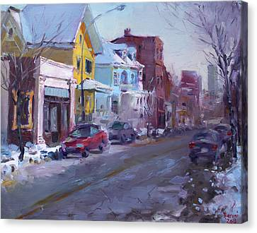149 Elmwood Ave Savoy Canvas Print by Ylli Haruni