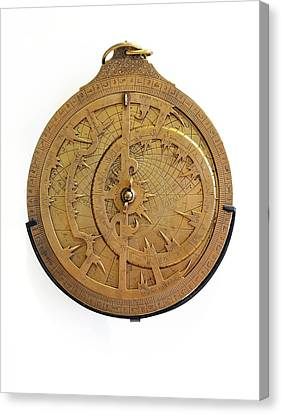 14th Century Brass Astrolabe Canvas Print by Chris Hellier