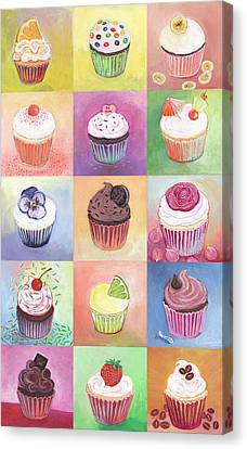Grid Canvas Print - 15 Cupcakes by Jennifer Lommers