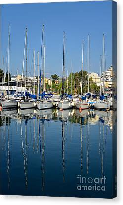 Athens Canvas Print - Reflections In Mikrolimano Port by George Atsametakis
