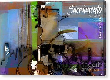 Sacramento Map And Skyline Watercolor Canvas Print