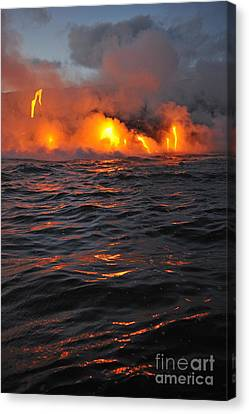 Steam Rising Off Lava Flowing Into Ocean Canvas Print by Sami Sarkis