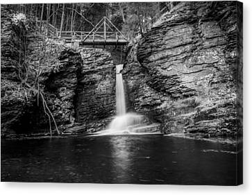 Waterfalls George W Childs National Park Painted Bw   Canvas Print