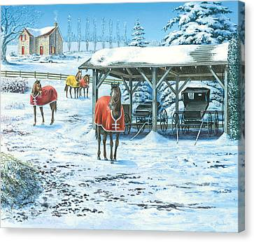 Horse Stable Canvas Print - Brisk Winter Days by John Bindon