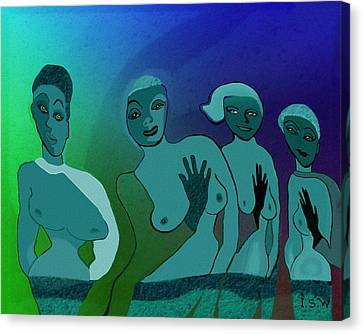 154 -  Blue Green Ladies   Canvas Print by Irmgard Schoendorf Welch