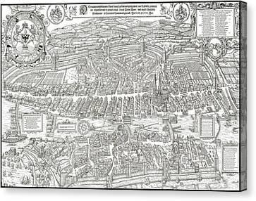 1576 Zurich Switzerland Map Canvas Print