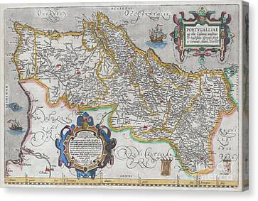 1579 Ortelius Map Of Portugal  Canvas Print by Paul Fearn
