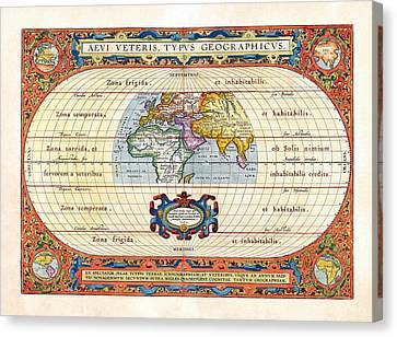 1590 Historical World Rare Map Aevi Veteris Typus Geographicus Canvas Print by Karon Melillo DeVega