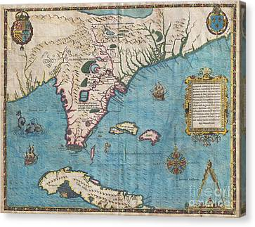1591 De Bry And Le Moyne Map Of Florida And Cuba Canvas Print by Paul Fearn