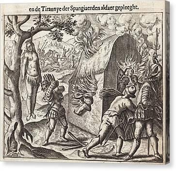 1598 Spanish Cruelties In The New World Canvas Print by Paul D Stewart